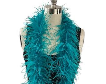 Ostrich Feather Boa, Dark Aqua 2 Ply Value Ostrich Boa Halloween Costume, Dance and Fashion Design ZUCKER® Dyed & Sanitized in the USA