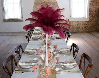 BURGUNDY Ostrich Feather Centerpiece Sets WHITE Eiffel Tower Vase - For Great Gatsby Party, Special Event & Wedding Reception Decor ZUCKER®