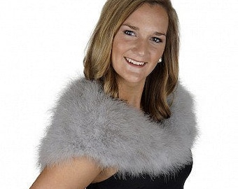 SILVER Fancy Marabou Feather Shawl w/Front Hook Closure For Special Events & Costume Parties ZUCKER® Feather Place Original Designs