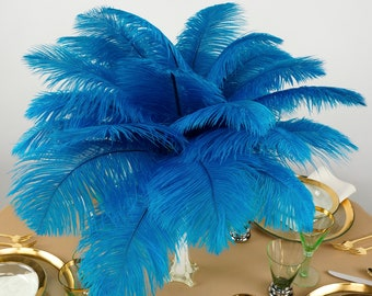 """Ostrich Feathers 13-16"""" DARK TURQUOISE, 1-50 pc, Feather Centerpieces, Party Decor, Millinery, Carnival, Fashion & Costume ZUCKER®"""