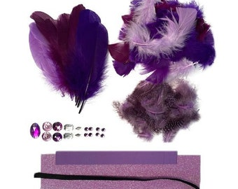 DIY Feather Crown Kit For Kids Arts and Crafts, Purple Sugarplum DIY Princess Crown, Costume, Millinery and Fashion Design ZUCKER®