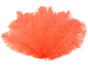 """Ostrich Feathers 9-12"""" Hot ORANGE, Ostrich Drabs, Centerpiece Floral Supplies, Carnival & Costume Feathers ZUCKER®Dyed and Sanitized USA"""