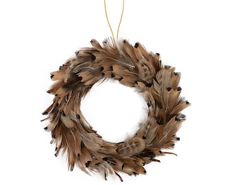 Candle Ring, Small Feather Wreath, Fall Wreath, Natural Pheasant Feather Wreath, Fall Decor, Thanksgiving Table Setting ZUCKER®