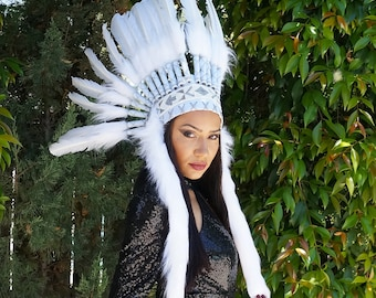 Feather Tribal Headdress, Native American Inspired White Feather Headdress with Faux Fur and Beaded Headband  ZUCKER®