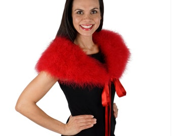 RED Marabou Feather Shawl with Satin Ties - For Prom, Bridesmaids, Weddings & all Special Events ZUCKER® Feather Place Original Designs
