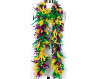 60 Gram Chandelle Feather Boa Mardi Gras Mix 2 Yards For Party Favors, Kids Craft, Dress Up, Dance, Halloween, Costume and Carnival Zucker®