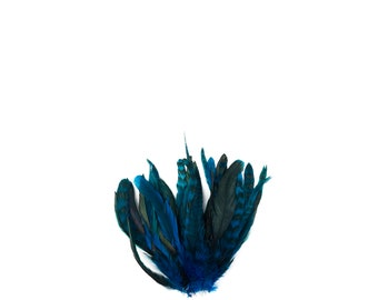 """TURQUOISE Dyed Rooster Feathers, 8-10"""" Barred Rooster Feathers, 25pcs Rooster Coque Tails For Crafts,DIY, Millinery,Costume Design ZUCKER®"""