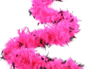 60 Gram Chandelle Feather Boa Tipped PINK & BLACK 2 Yards For Party Favors, Kids Craft, Dress Up, Dancing, Halloween, Costume ZUCKER®