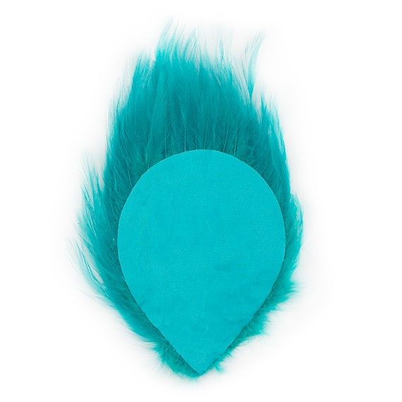 6 Pcs HACKLE FEATHER PAD TEAL New Pads; Headband//Hats//Bridal//Craft//Dress