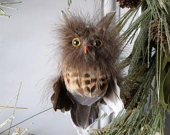 Decorative Owl Ornament - Feather Holiday Owl Ornament - Fall Thanksgiving Decor, Unique Holiday Decorative feather Ornaments ZUCKER®