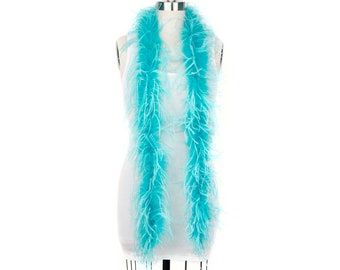 1 Ply Ostrich Feather Boa Economy AQUA & TURQUOISE 2 Yards -Fashion, Accessory, Halloween, Costume Design, Dress Up, Dancing, Stage  ZUCKER®