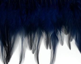 "1 Yard NAVY Dyed Saddle Feather Fringe approx 5-6"" - Fringe for Costume, Fashion & Millinery Design  ZUCKER®"