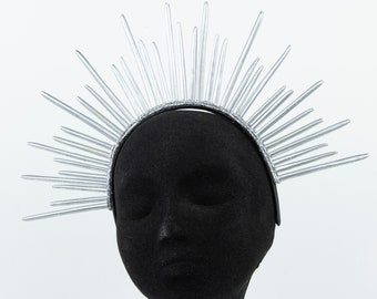 Silver Halo Crown, Feather Quill Crown, Starburst Quill Crown, Halo Headband ZUCKER® Feather Place Originals