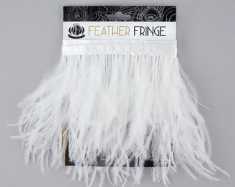 WHITE 1 YARD Ostrich Feather Fringe - For Bridal, Carnival Costume, Cosplay, Millinery, Fashion Design and Decor  ZUCKER®