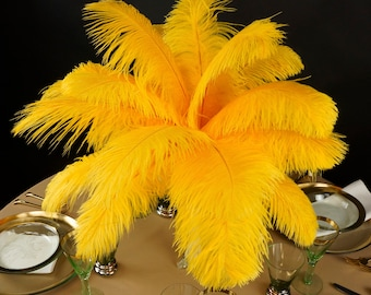 """Ostrich Feathers 13-16"""" GOLD - For Feather Centerpieces, Party Decor, Millinery, Carnival, Fashion & Costume ZUCKER®"""
