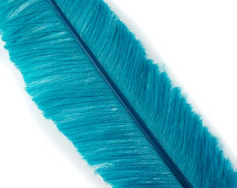 """Ostrich Nandu Feathers, Peacock Blue Ostrich Feather Nandus 13-24"""", Wholesale Carnival & Costume Feathers ZUCKER®"""