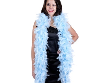 120 Gram Chandelle Feather Boa, Light Blue 2 Yards For Party Favors, Kids Craft & Dress Up, Dancing, Wedding, Halloween, Costume ZUCKER®