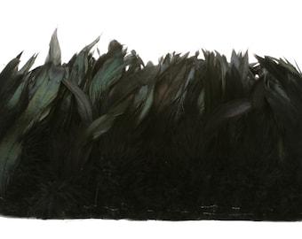 "Rooster Feathers, 4-6"" BLACK Half Bronze Schlappen Rooster Feathers, Strung Craft Feathers ZUCKER®"