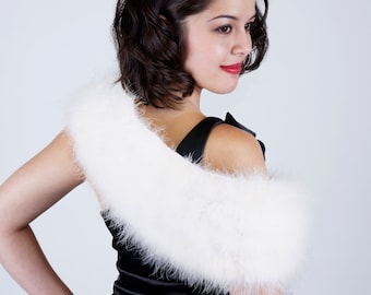 IVORY Marabou Feather Shawl with Satin Ties - For Prom, Bridesmaids, Weddings and all Special Events ZUCKER® Feather Place Original Designs