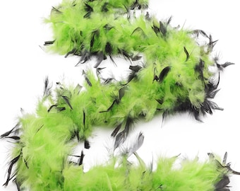 60 Gram Chandelle Feather Boa Tipped LIME & BLACK 2 Yards For Party Favors, Kids Craft, Dress Up, Dancing, Halloween, Costume ZUCKER®
