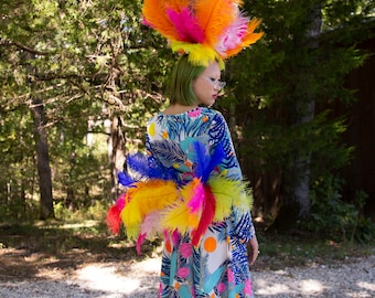 Rainbow 3 in 1 Upcycled Feather Costume made with 2nd Quality Ostrich Feathers, Fantasy Costume Feather Wings ZUCKER® Original Designs