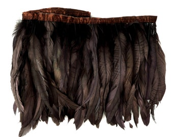Dark Brown Metallic Dyed Iridescent Coque Tail Feather Fringe - For DIY, Carnival, Cosplay, Costume, Millinery & Fashion Design ZUCKER®