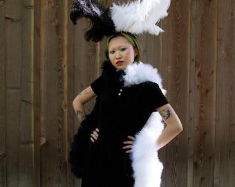 Cruella DeVille Inspired Black and White Feather Boa & Headpiece Costume Set, Deluxe Marabou Feather Boa and Wing ZUCKER® Original Designs