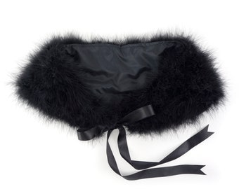 BLACK Marabou Feather Shawl with Satin Ties - For Prom, Bridesmaids, Weddings and all Special Events ZUCKER® Feather Place Original Designs