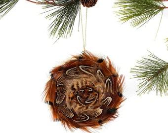 Decorative Feather Ornament Disc - Natural Pheasant - Christmas Decor, Unique Holiday Decorative feather ornament ZUCKER®