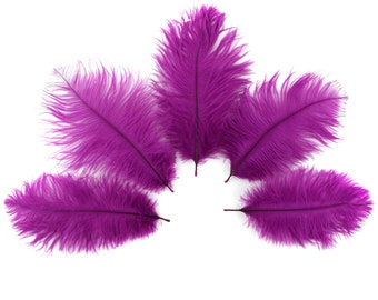 """Ostrich Feathers 4-8"""" Fuschia Very BERRY, Mini Ostrich Drabs, Floral Bouquets, Boutonnieres, Small Centerpiece ZUCKER®"""