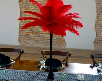 RED Ostrich Feather Centerpiece Sets with BLACK Eiffel Tower Vase - For Great Gatsby Party, Special Event & Wedding Reception Decor ZUCKER®