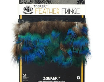 Peacock Feather Fringe, Natural Iridescent Blue 1 Yard for DIY Jewelry, Hat Accessories, Fashion, Costume Design, Fly Tying, Fishing ZUCKER®