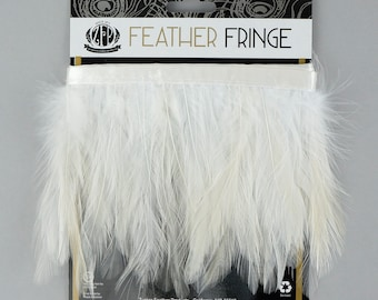WHITE 1YD Dyed Hackle Feather Fringe - Feather Fringe for DIY Arts and Crafts, Costume, Fashion & Millinery Design  ZUCKER®