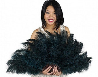 Dark Teal Ostrich Feather Fan, 1 Ostrich Floss Feather Fan For Bridal Showers,Party Favors,Burlesque,Showgirls,Costume Feather Fan  ZUCKER®
