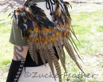 Natural Over the Shoulder Pheasant Feather Wings, Costume Feather Wing, Unique Cosplay & Halloween Feather Wings, Owl, Phoenix Wings ZUCKER®