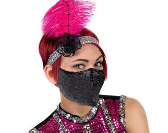 Pink and Silver Flapper Feather Headband with Black Sequin Mask, Halloween Costume, Feather Fascinator & Fashion Accessory ZUCKER®