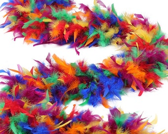 120 Gram Chandelle Feather Boas Rainbow Mix 2 Yards For Party Favors, Kids Craft, Dress Up, Dancing, Halloween, Costume ZUCKER®