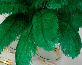 """Large Ostrich Feathers 1 to 25 Pieces 17-25"""", Prime Ostrich Femina Wing Plumes EMERALD Green, Wedding Centerpiece, Carnival ZUCKER® USA"""