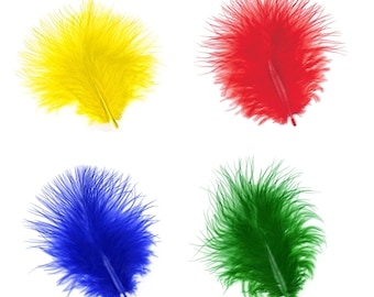 Turkey Feathers, Vibrant Rainbow Loose Turkey Marabou Feathers, Short and Soft Fluffy Down, Craft and Fly Fishing Supply Feathers ZUCKER®