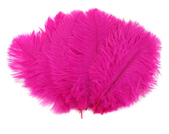 """Ostrich Feathers 9-12"""" Shocking Hot PINK, Ostrich Drabs, Centerpiece Floral Supplies, Carnival, Costume Feather ZUCKER® Dyed & Sanitized USA"""