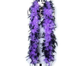60 Gram Chandelle Feather Boa Tipped LAVENDER & BLACK 2 Yards For Party Favors, Kids Craft, Dress Up, Dancing, Halloween, Costume ZUCKER®
