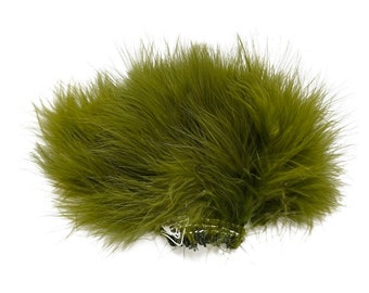 OLIVE Strung Marabou Turkey Feathers - For Fly Fishing, Fly Tying, D.I.Y Arts and Crafts ZUCKER®