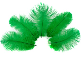 """Ostrich Feathers 4-8"""" KELLY Green, Mini Ostrich Drabs, Floral Bouquets, Boutonnieres, Small Centerpieces, Hats ZUCKER®"""