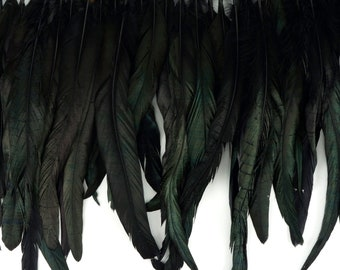 """Rooster Coque Tail Feather Fringe 1YD Black Iridescent 10-12""""  For DIY Cosplay Costumes, Halloween, Millinery & Fashion Design ZUCKER®"""