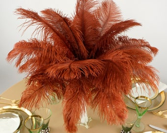 """Ostrich Feathers 13-16"""" COPPER - For Feather Centerpieces, Party Decor, Millinery, Carnival, Fashion & Costume ZUCKER®"""