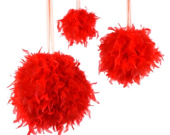 """Large RED Decorative Chandelle Feather Pom Poms 18"""" - Unique Event Decor For Birthday Parties, Bridal and Baby Showers  ZUCKER®"""