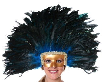 Feather Headdress DK.TURQUOISE with Gold Removable Masquerade Mask - Cultural Dance, Carnival & Halloween Costume Feather Headdress ZUCKER®