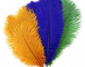 """Mardi Gras Ostrich Feather Mix 9-12"""" - Perfect for Feather Centerpieces, Party Decor, Millinery and Costume ZUCKER®Dyed and Sanitized USA"""
