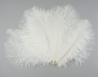 """Ostrich Feathers 9-12"""" WHITE, Ostrich Drabs, Centerpiece Floral Supplies, Carnival & Costume Feathers ZUCKER®Dyed and Sanitized USA"""