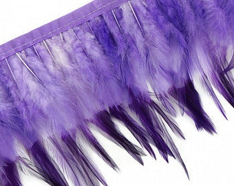 """1 Yard PURPLE Tipped & Dyed Saddle Feather Fringe approx 6-8"""" - For Cultural Arts, Carnival, Costume, Fashion, Millinery Design  ZUCKER®"""